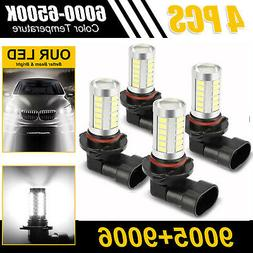 4pcs Combo 9005+9006 LED Headlight Kit High Low Beam Fog Bul