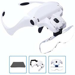 Head Mount Magnifier With LED Lights for Watch Rpair, Jewelr