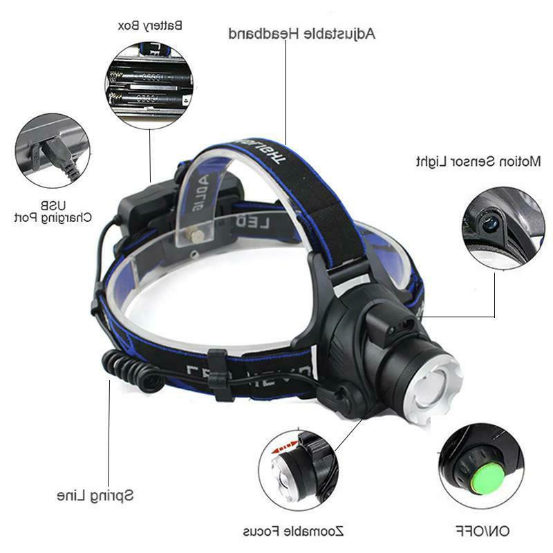 6000LM Zoomable Headlight Waterproof Hunting Fishing Torch
