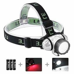 LE LED Headlamp Flashlight, Headlight with Red Light, Water