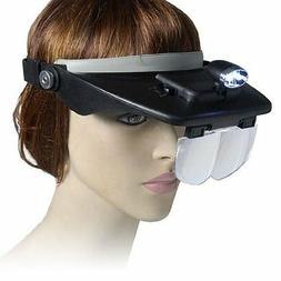 LED CRAFT HANDS FREE HEAD MAGNIFIER MAGNIFYING LENS GLASS WI